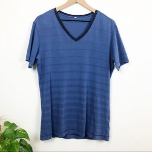 Lululemon Blue Striped V Neck Basic T Shirt
